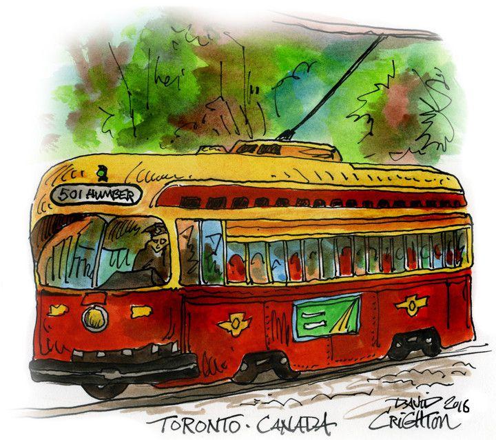 """Vintage #Streetcar - the #RedRocket """" by David Crighton"""