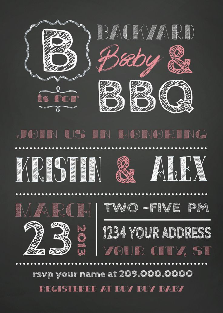 baby shower bbq invitation templates%0A COUPLES bbq BABY SHOWER invitation chalkboard
