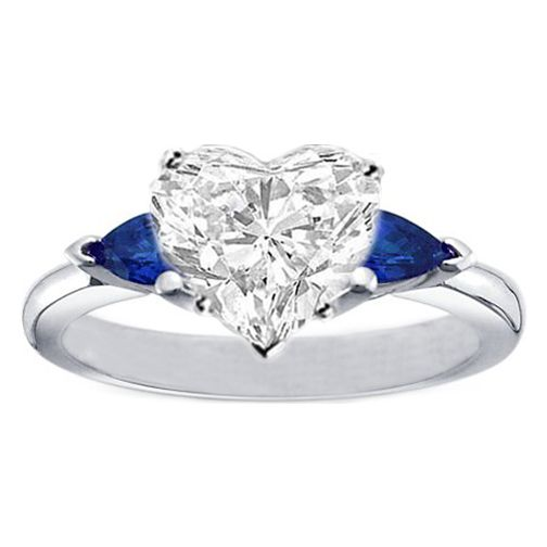 Heart Diamond Engagement Ring with Pear Shape Blue Sapphires
