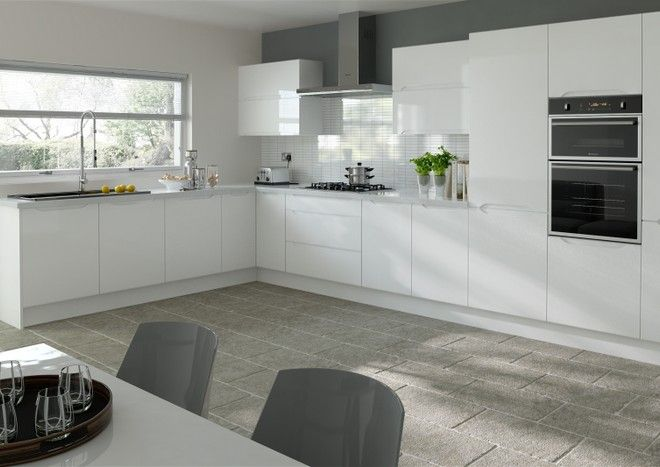 White Kitchen Feature Wall high gloss white kitchen doors, grey feature wall, white tile