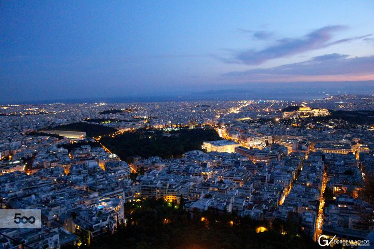 A panoramic shot of Athens, Greece during a summer blue hour time.