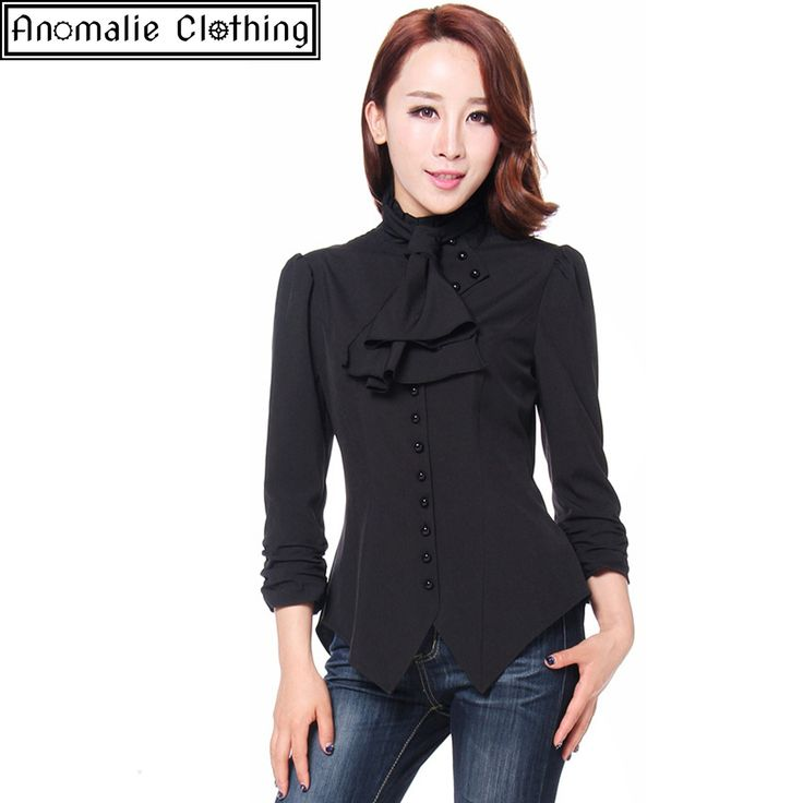 Chic Star - Black Steampunk Blouse With Ruched Sleeves