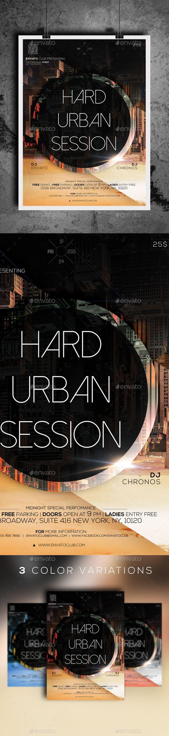 Hard Urban Session (CS, 8.5x11.9, club, dark, dnb, drum & bass, drum and bass, dubstep, electronic, festival, flyer, futuristic, minimal, music, neurofunk, party, party flyer, poster, print, shooter, template, urban)