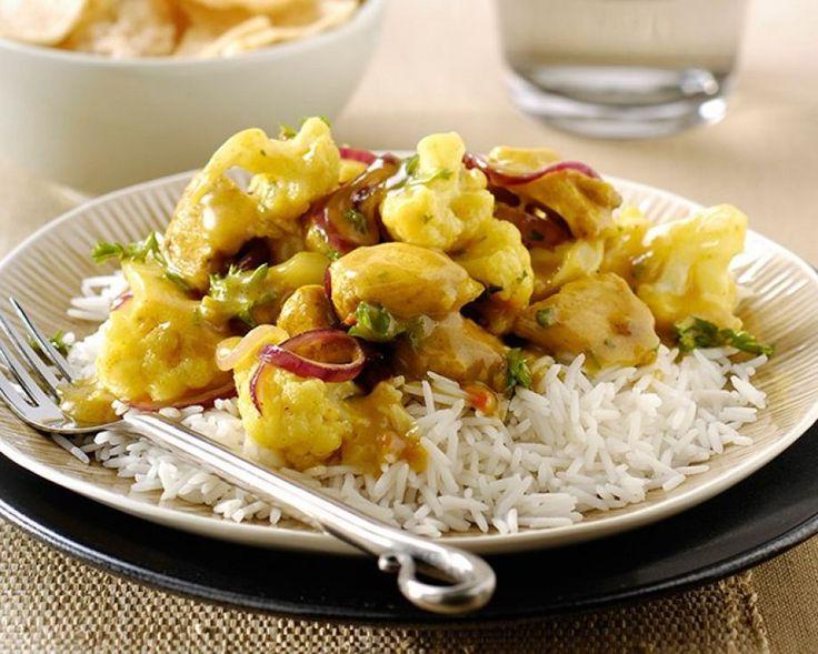 Recept gezonde Rijst met kip kerrie