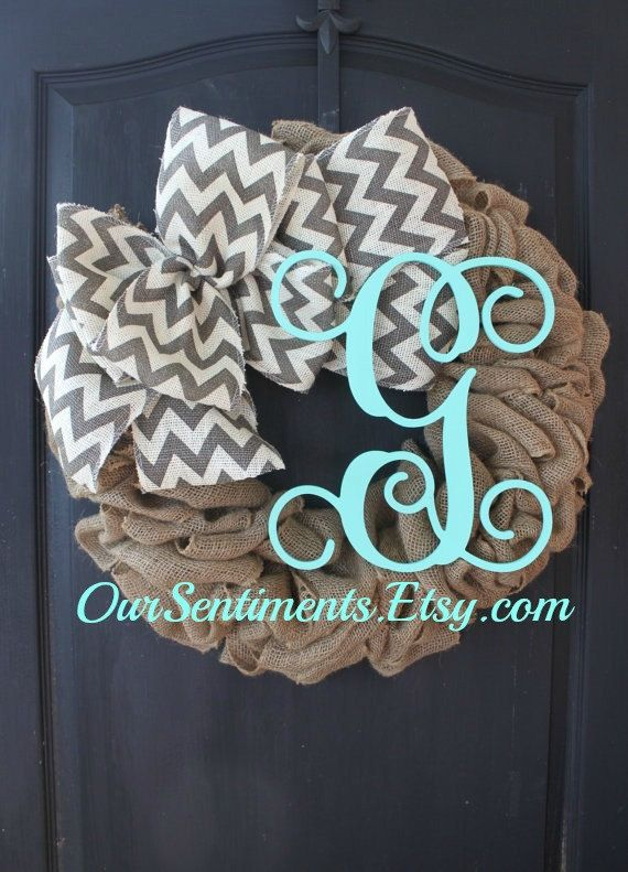 Burlap and chevron wreath   Burlap Wreaths for by OurSentiments