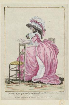 """""""Aussi brillante que Vénus la belle Dorine s'occupe de ce qu'elle à lu dans un billet dicté par l'amour le plus vis; sa robe est à la Marlborough, et son chapeau à la Charlotte"""", Gallerie des Modes, 1785; MFA 44.1619"""