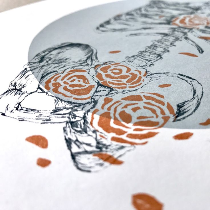New print added to my store! Flower skeleton screen print, hand printed on high quality paper.