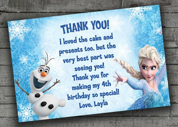 Frozen Thank You Card Kids Birthday Party by PartyPrintableInvite