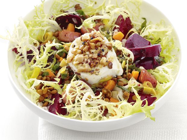 Warm Beet and Lentil Salad with Goat Cheese #FNMag #myplate #veggiesFood Network, Network Magazines, Lentils Salad, Goats Chees Recipe, Network Kitchens, Goat Cheese Recipes, Protein Veggies, Goats Cheese Recipe, Warm Beets