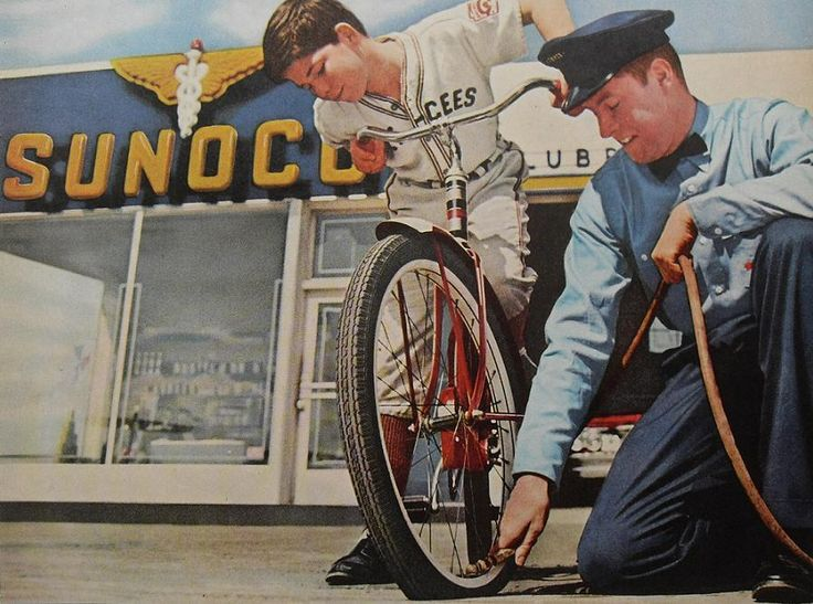 Full service was the only service at gas stations in the 50's and 60's. Attendants wore uniforms ...