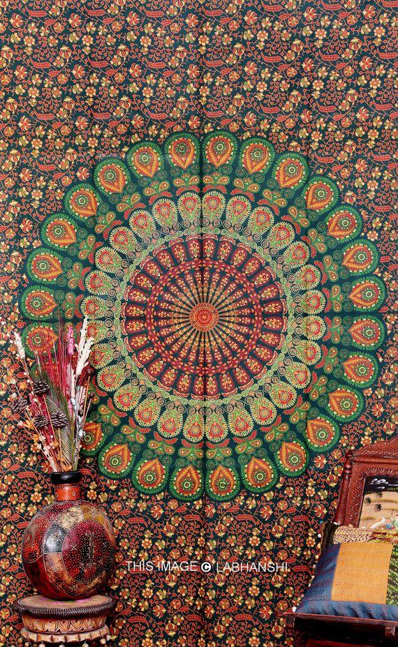 hippie hippie tenture murale tapisserie de mandala par labhanshi tissus pinterest tenture. Black Bedroom Furniture Sets. Home Design Ideas
