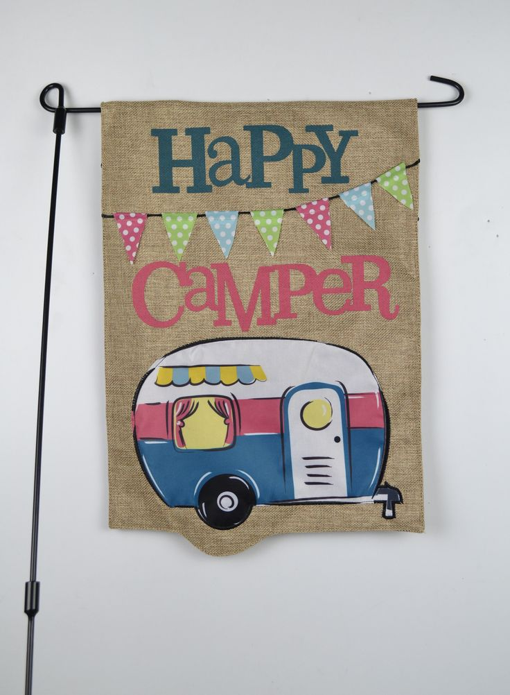 happy camper burlap garden flag