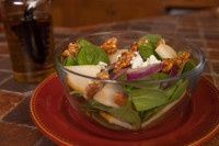 Spinach Salad Recipe with Fruit and Nuts.
