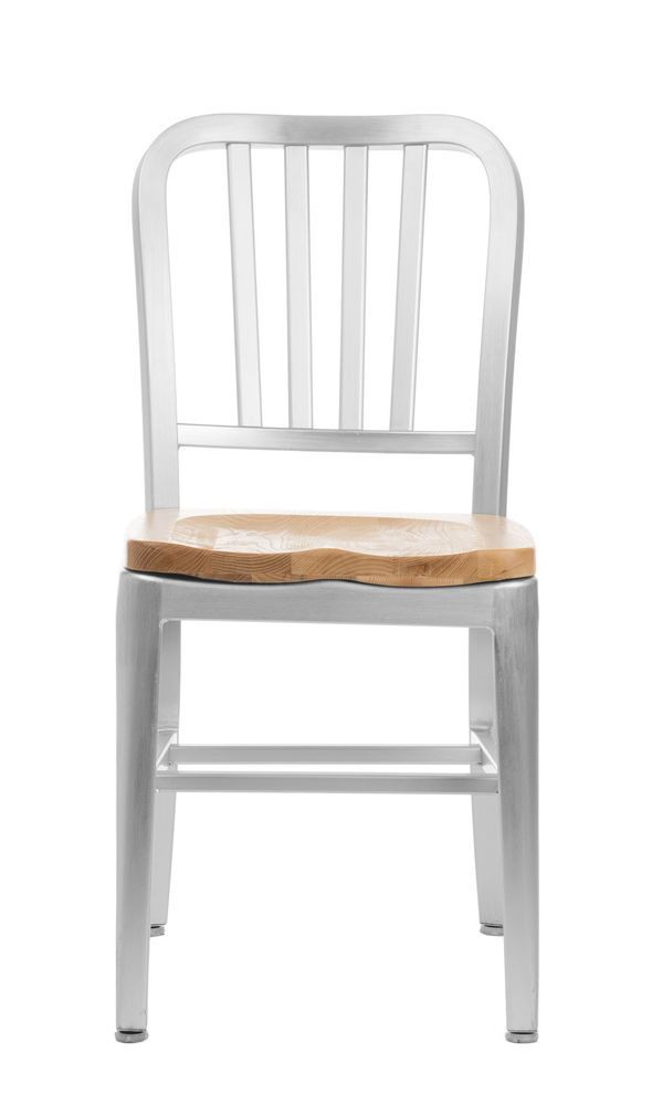 Brushed Aluminum Dining Chairs Restaurant Wood Seat Commercial Modern Navy Ch