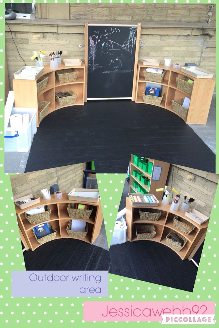 Outdoor writing area. We painted the floor with chalkboard paint to zone the area and for mark making opportunities. Resources include variety of paint brushes, different sized chalks, pens, pencils, natural materials for making rubbings, clipboards, notebooks, paper, gardening labels. Created with @vicky0971. EYFS