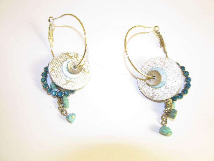 Handmade leather earrings (1 pair)  Made with white/silver embossed leather, metal hoop with crystals, semiprecious stones and antiallergic earring hoops.