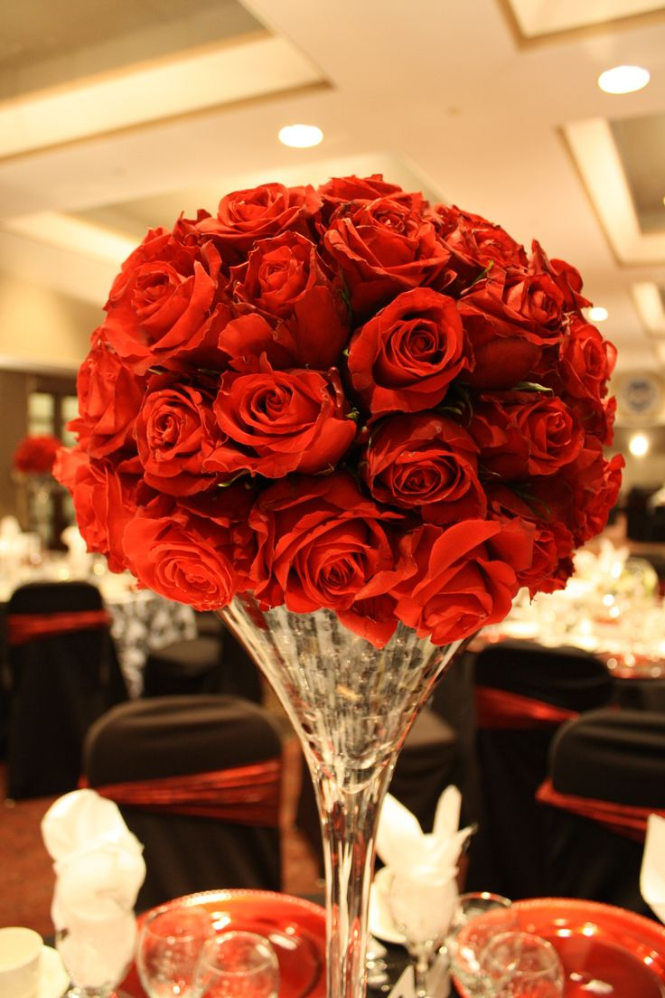 Rose Ball Centerpiece Ideas : Classy red rose half topiary ball on tall martini vase by