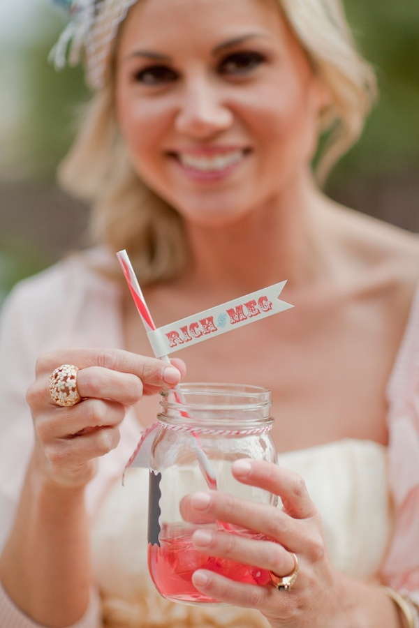 Love these little flags on vintage straws! #Wedding