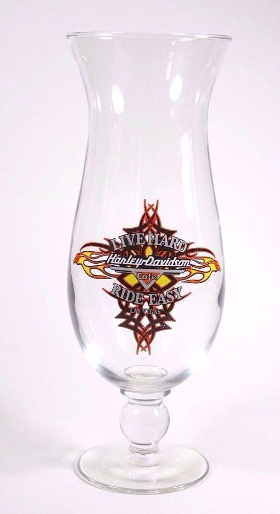 Harley Davidson Cafe Las Vegas Hurricane Glass Live Hard Ride Easy Collectible #HarleyDavidson #Collectible #Glassware #FathersDay #GiftsForDad #Biker #motorcycle