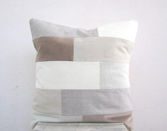 Modern neutral throw pillow: organic cotton rustic earth tones colorblock, eco friendly geometric decor pillow cushion cover