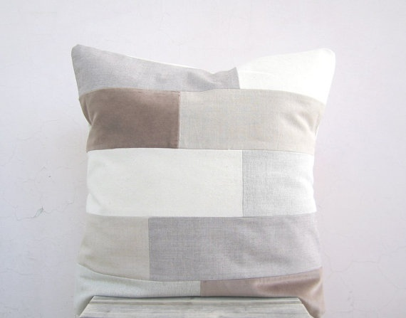 Modern neutral throw pillow: organic cotton rustic earth tones colorblock, eco friendly geometric decor pillow cushion cover