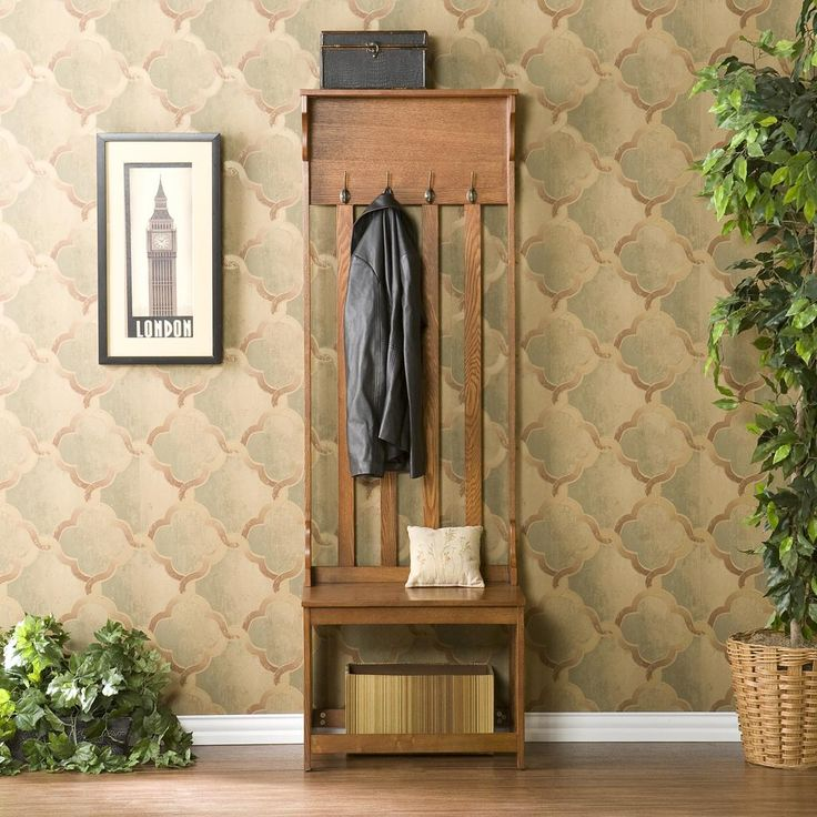 modern oak hall tree entry bench with hanger and storage