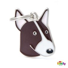 Show details for White and Brown Bull Terrier Dog Tag Free engraving  www.myfamily.it