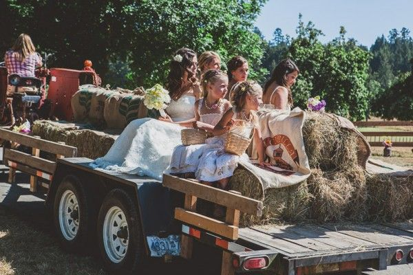 Bride arriving at her ceremony on a tractor.