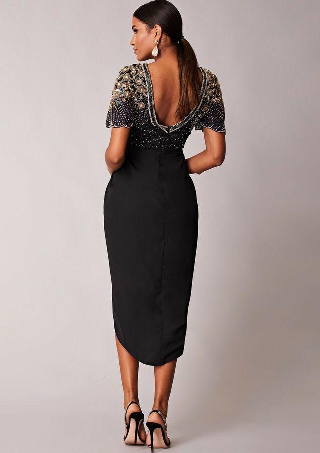 Virgos Lounge Black Nicola Embellished Midi Dress Bridesmaid Wrap Party 10 to 20