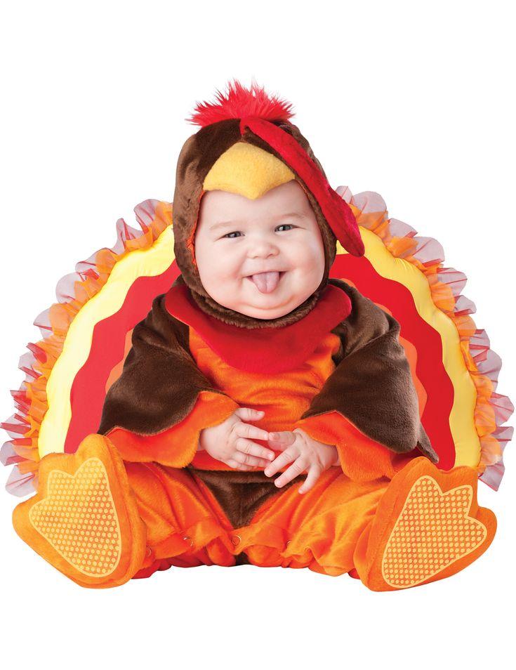 Costume tacchino bèbè - Lusso: Questo costume da tacchino per bèbè si compone di un abito, un cappuccio, una coda e due scarpe.L'abito è prodotto in un tessuto elastico e morbido di colore marrone e...