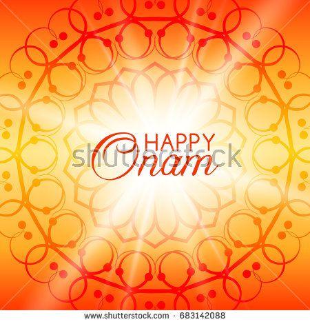 Happy Onam vector greeting card with rangoli