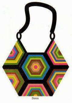 tejidos artesanales en crochet: cartera en hexagonos tejida en crochet