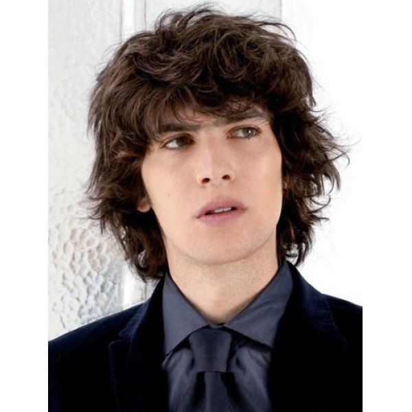 Vogue Deep Brown Full Bang Capless Handsome Short Synthetic Shaggy Curly Wig For Men (DEEP BROWN) in Mens Wigs | DressLily.com