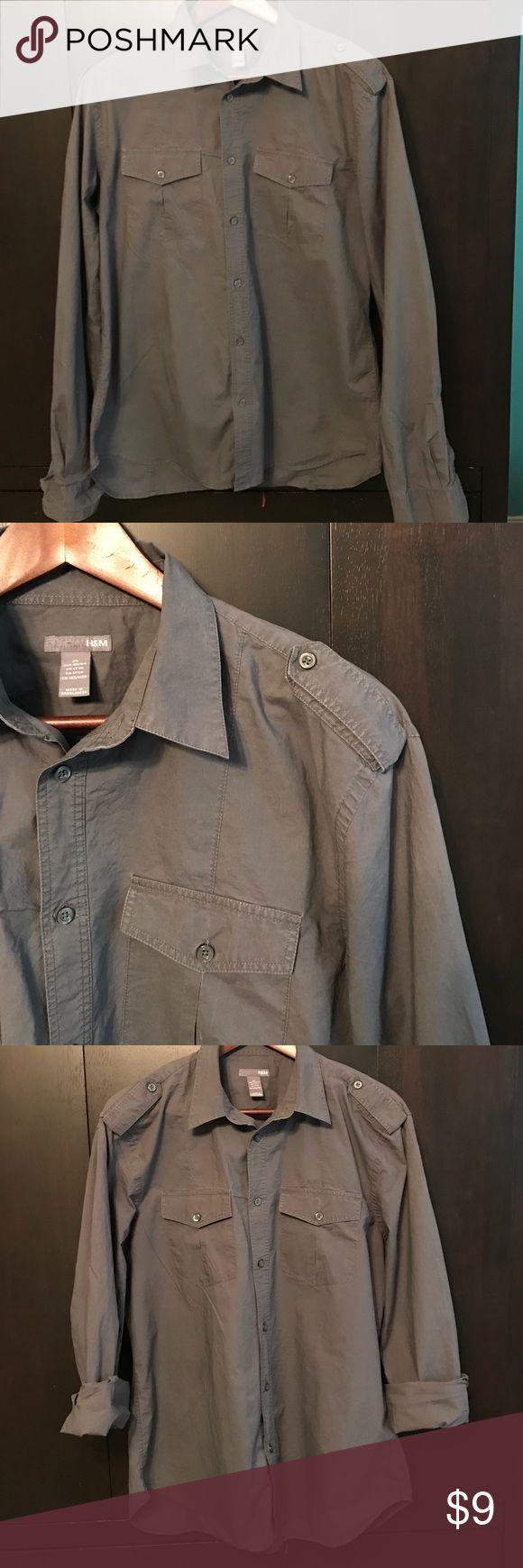 H&M Gray button down H&M Gray button down for men H&M Shirts Casual Button Down Shirts