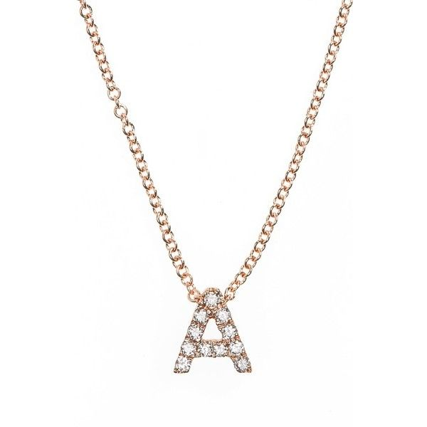 Women's Bony Levy Pave Diamond Initial Pendant Necklace found on Polyvore featuring jewelry, necklaces, rose gold, diamond charm, charm necklaces, diamond chain necklace, diamond necklace and letter charm necklace