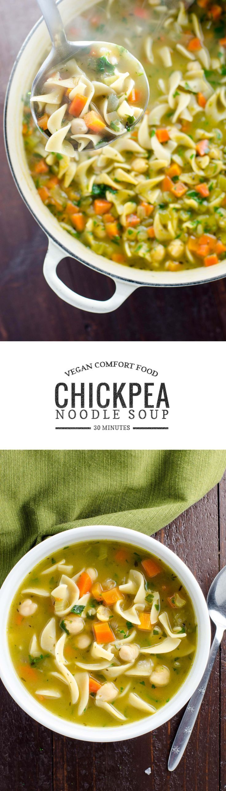 Chickpea noodle soup is vegan comfort food at its finest. Warming, easy to make and ready in 30 minutes.