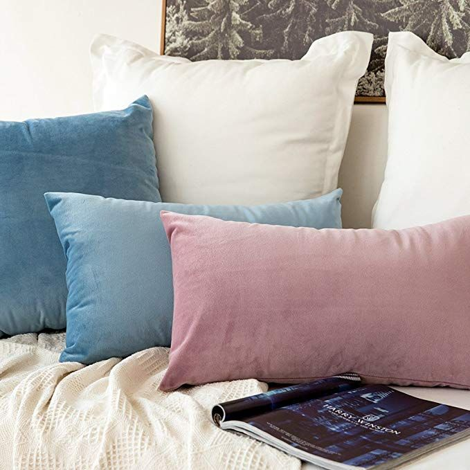 Amazon Com Miulee Pack Of 2 Velvet Soft Soild Decorative Square Throw Pillow Covers Set Cushion Case For Sofa Bedroo Bedroom Sofa Pillow Covers Throw Pillows