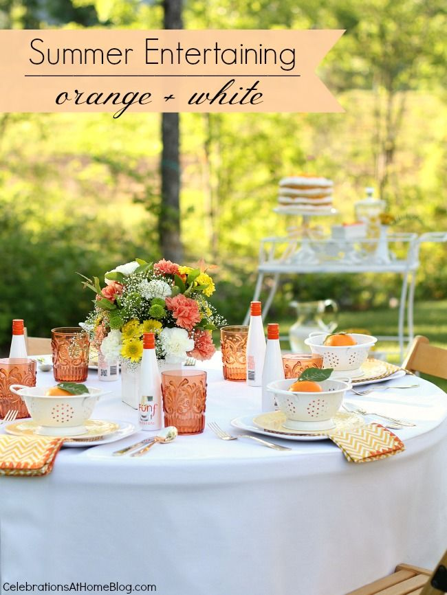 SUMMER ENTERTAINING + 4 LAYER ORANGE CAKE RECIPE #summerparty #entertaining #tablescape: Tablesettings, Summer Entertaining, Layer Cake Recipes, Layer Orange, Table Setting, Orange Cakes, Entertaining Tablescape, Tablescape Summer