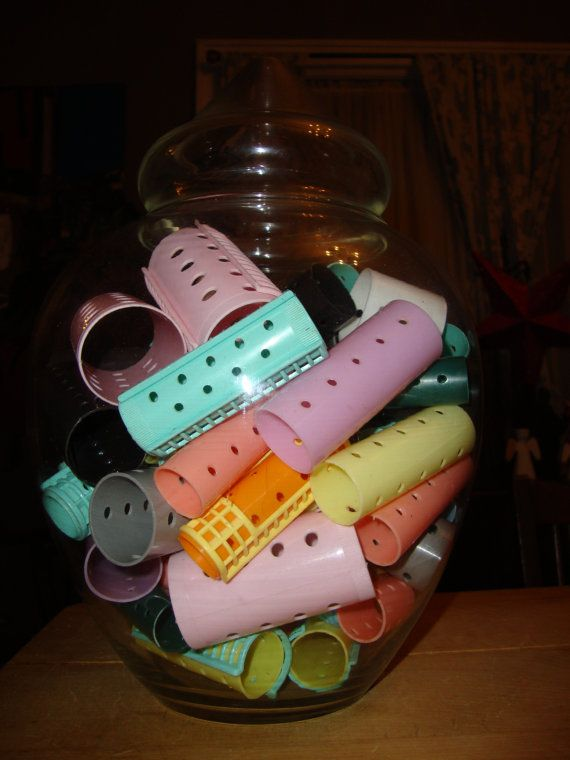 Funky Fun Vintage Retro Pastel Hair Curlers by bobsfindsndesigns, $20.00