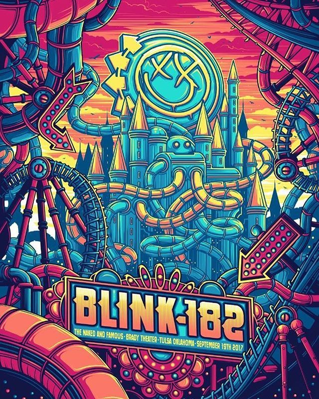 Instagram media by blink182 - Tonight's show poster! Doors open at 7pm, arrive early and check the box office for any tickets. // 🎨 @danmumforddraws