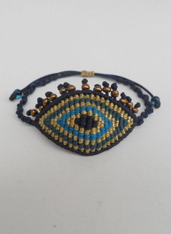 Bracelet evil eye macramé avec cils, ajustable, Extra grand oeil, bonne chance, protection du diable All-seeing, bijoux ethniques fibre à la main