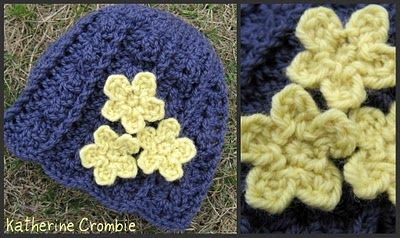 pretty spring flowers. can be made to put on a hat or some fingerless gloves: Crochet Flowers, Crochet Spring, Free Crochet, Crochet Hats, Hat Patterns, Crochet Patterns, Spring Blossoms, Flower Patterns