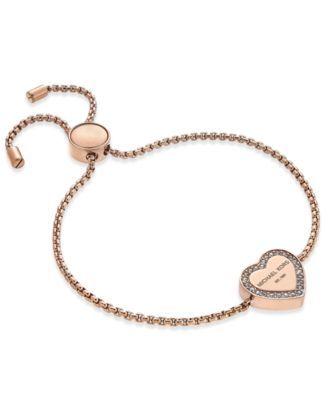 Michael Kors Crystal Heart Logo Slider Bracelet | macys.com