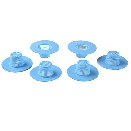 Blulu Plastic Kitchen Bath Sink Strainer Filter Net Drain Hair Catcher Stopper, Blue, 6 Pack