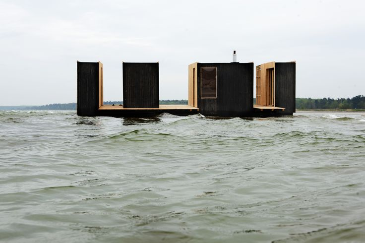 floating sauna pavillion in Køge, Denmark. By RINTALA / EGGERTSSON ARCHITECTS