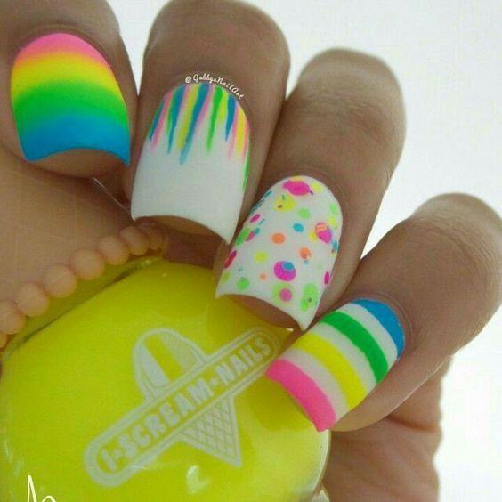 neon-brights diy easter nail