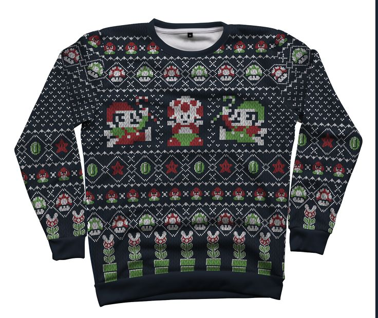 15 best all over christmas sweaters featuring retro gaming for Over the top ugly christmas sweaters