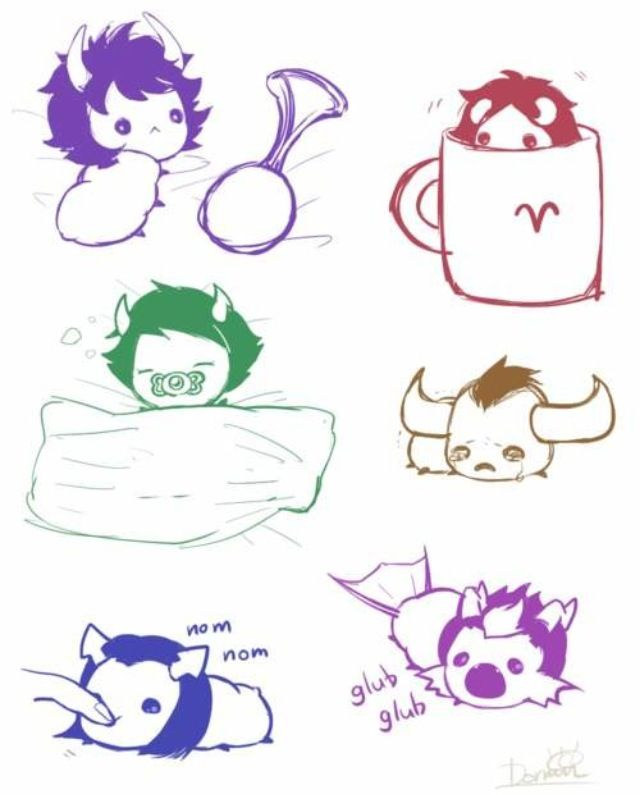 Homestuck grubs <3 Gamzee, Aradia, Kanaya, Tavros, Equius, Eridan
