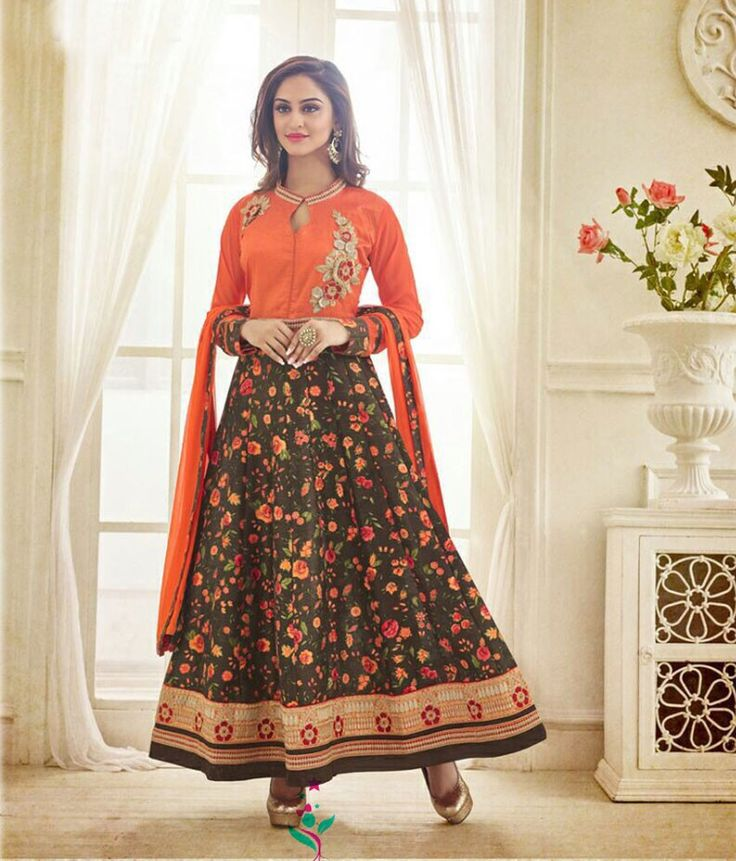 Krystle DSouza Bhagalpuri Silk Multicolour Floral Print Semi Stitched Long Anarkali Suit - K65001