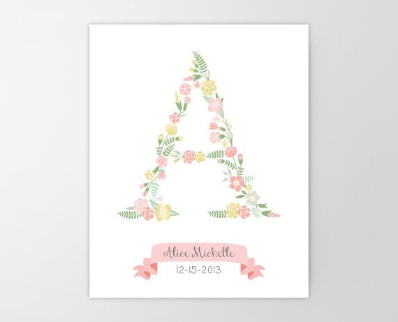 Floral Monogram Canvas Art Print - Personalized Nursery Print - Stretched Canvas - Girl Nursery Decor - Baby Shower Gift - Birthday Initial
